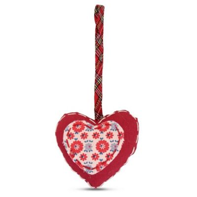 Hanging Floral Fabric Heart Shaped Christmas Tree Decoration