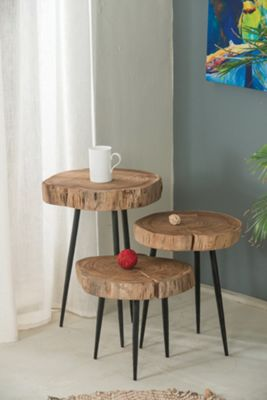 Mina Solid Acacia Wood Side Table-Medium