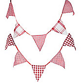 Set of 2 Shabby 180cm Red & White Tartan Cotton Bunting Garland Flags