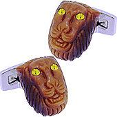 Tiger Eye Lion Head Cufflinks by Duncan Walton
