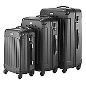VonHaus 3pc Hard Shell ABS Trolley Suitcase Luggage Set with 4 Rotating Wheels, Combination Lock & Telescopic Handle – Black