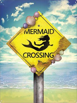 Mermaid Crossing Tin Sign 30.5x40.7cm,