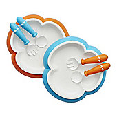 BabyBjorn Baby Plate,Spoon and Fork (Orange/Turquoise)