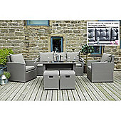 Mixed Grey Flat Weave Cayman Relaxed Dining Set