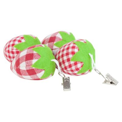 Set of 4 Red Tartan Fabric Strawberry Clip-on Tablecloth Weights