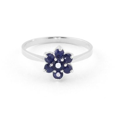 QP Jewellers 0.66ct Sapphire Ontario Wildflower Ring in 14K White Gold - Size E