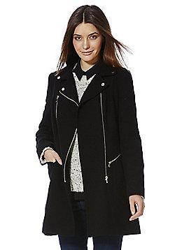 F&F Zip Detail Coat - Black