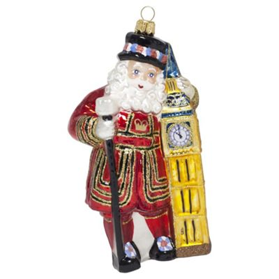 Father Christmas Beefeater with Big Ben Mouth-Blown Glass Christmas Tree Bauble Decoration