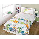 Dinosaur Toddler Bedding - Natural Stripe