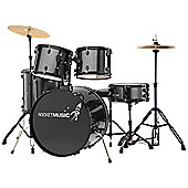 Rocket 5 Piece 22in Drum Kit in Black – with 6 Months Free Online Music Lessons