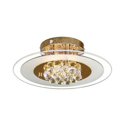 Delmar Flush Round 4 Light French Gold/Glass/Crystal