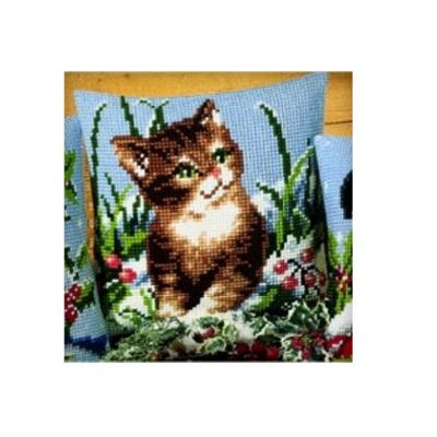 Vervaco Winter Scene Kitten Cross Stitch Cushion