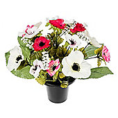 Homescapes Pink and Cream Anenome Artificial Flower Arrangement in Grave Vase