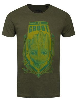 Guardians Of The Galaxy Groot Shield Heather Men's T-shirt, Green