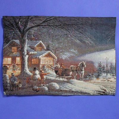 Mercer Leisure - Christmas Tapestry wih Fibre Optic Lights - Christmas Delivery Scene