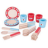 Bigjigs Toys Wooden Dinner Service Set - Pretend Play and Role Play for Children