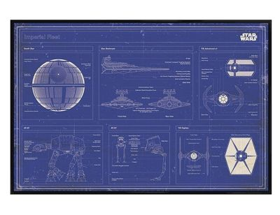 Star Wars Gloss Black Framed Imperial Fleet Blueprint Poster