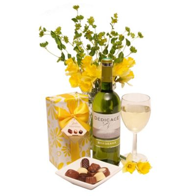 Wine with Gift Wrapped Chocolates