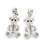Silver Plated Crystal Cute 'Bear' Stud Drop Earrings - 3cm Length