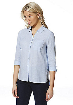 F&F Striped Linen Shirt - Blue