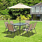 Outsunny 6 Seater Garden Set Furniture w/ Tempered Glass Parasol Table + Parasol