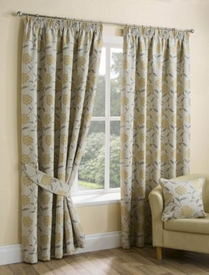 Palea Ochre Pencil Pleat Curtains - 90x54