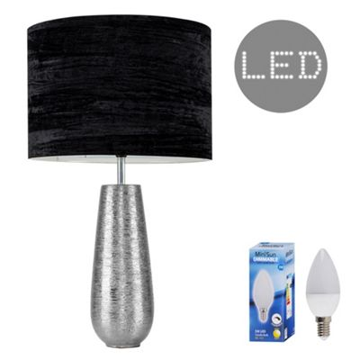 Hastings 65cm Touch Dimmer LED Table Lamp - Chrome & Black Velvet