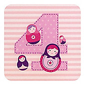 Little Stars Girls 4th Birthday Card