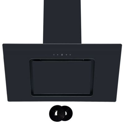 Cookology VER805BK 80cm Black Angled Glass Chimney Cooker Hood | Touch Controls & Carbon Filters