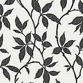 Superfresco Elisa Textured Leaf Print Charcoal Wallpaper