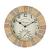 Outside In Stonegate Sandstone Wall Clock and Thermometer 10in