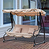 Outsunny Swing Chair Bench Garden Hammock Patio Convertible Canopy Bed 3 Seater - Beige
