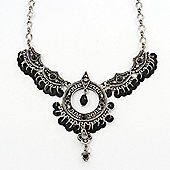 Victorian Style Sequin, Hammered Round Pendant Necklace In Burn Silver Tone - 36cm Length/ 7cm Extension