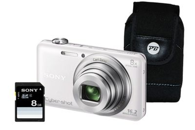 Sony DSC-WX60 White Camera Kit inc 8GB SDHC Card and Case