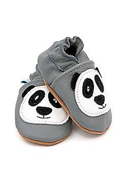 Dotty Fish Soft Leather Baby Shoe - Pitter Patter Panda - Grey