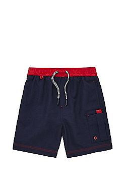 F&F Cargo Pocket Swim Shorts - Navy