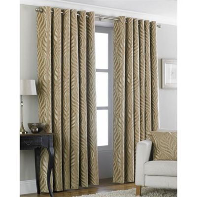 Riva Home Heligan Gold Eyelet Curtains - 90x90 Inches (229x229cm)