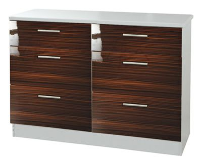 Welcome Furniture Knightsbridge 6 Drawer Chest - White - Ebony