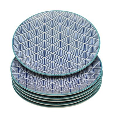 Geometric Design Patterned Dessert / Side Plate - 190mm (7.5 Inches)- Blue - Box of 6
