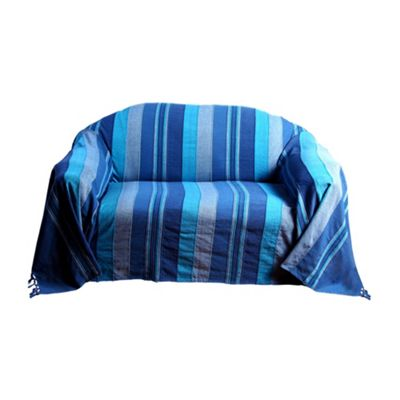 Homescapes Cotton Morocco Striped Blue Throw, 150 x 200 cm