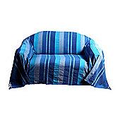 Homescapes Cotton Morocco Striped Blue Throw, 150 x 200 cm