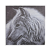 Dusted Glitter Wolf Printed Canvas 60cm x 60cm