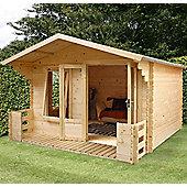 Mercia Studio Wooden Log Cabin with Veranda, 11x11ft
