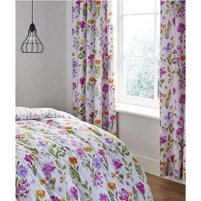 Catherine Lansfield Floral Meadow Multi 66x72 Inch Eyelet Curtains
