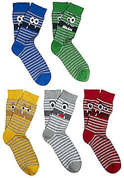F&F 5 Pair Pack of Monster Face Fresh Feel Socks - Multi