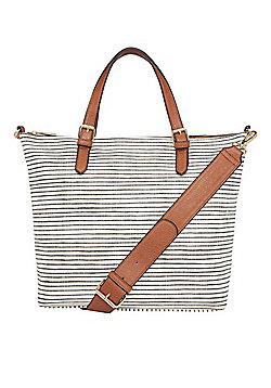 F&F Graphic Striped Tote Bag White One Size