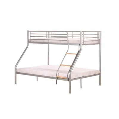 Comfy Living Children'sTriple Metal Bunk Bed Silver with Wood Detail with 2 Sprung Mattresses
