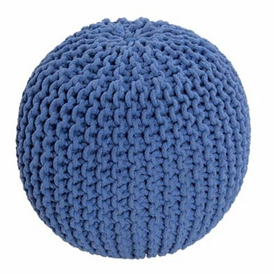 Homescapes Cotton Blue Knitted Pouffe Footstool