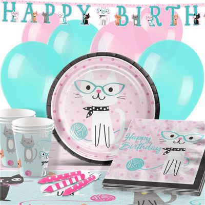 Purr-Fect Happy Birthday Party Pack - Deluxe Pack for 16