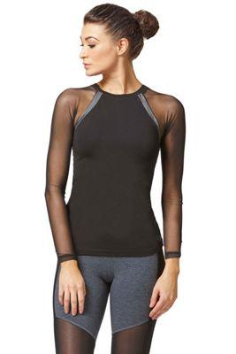 Reversible Raglan Mesh Long Sleeve Yoga Top Black 4X